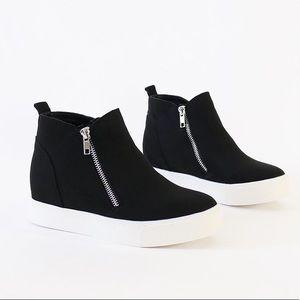 taylor black vegan suede wedge sneakers